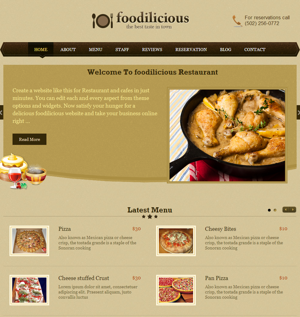 Restaurant web design top level