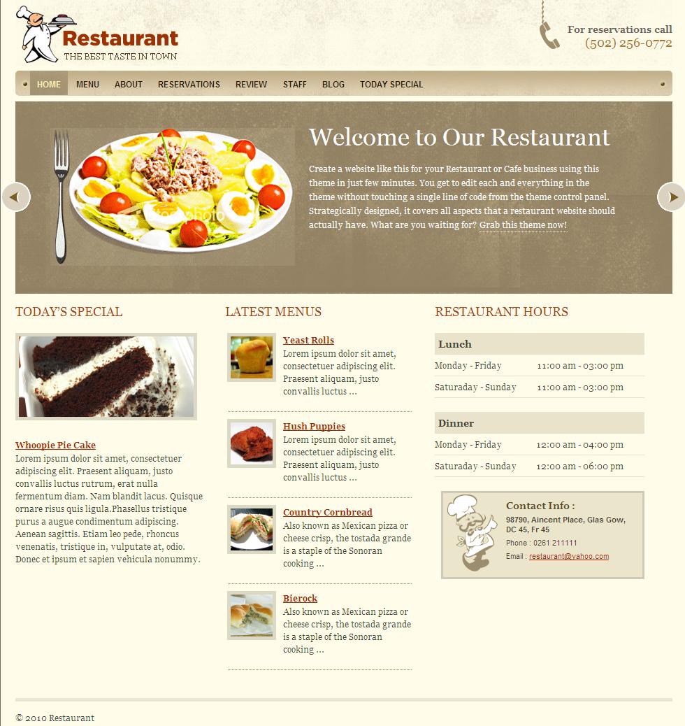 Restaurant web design top level